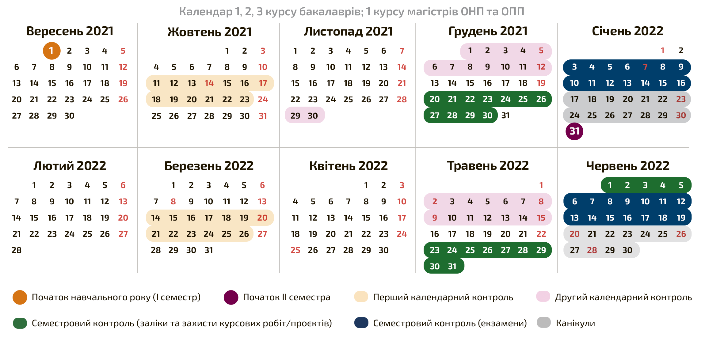 Календар 1 курсу